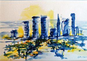 Ville jaune et bleu