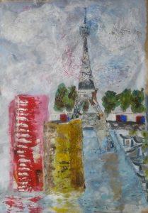 tour Eiffel vue de l'ile aux cygnes techniques mixtes 65*93