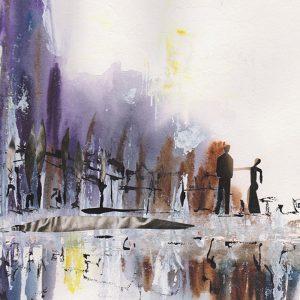 couple dans la ville aquarelle collage encre 30*30