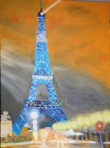Tour Eiffel  clignotante huile 54*74